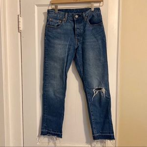 Distressed Levi cropped 501s